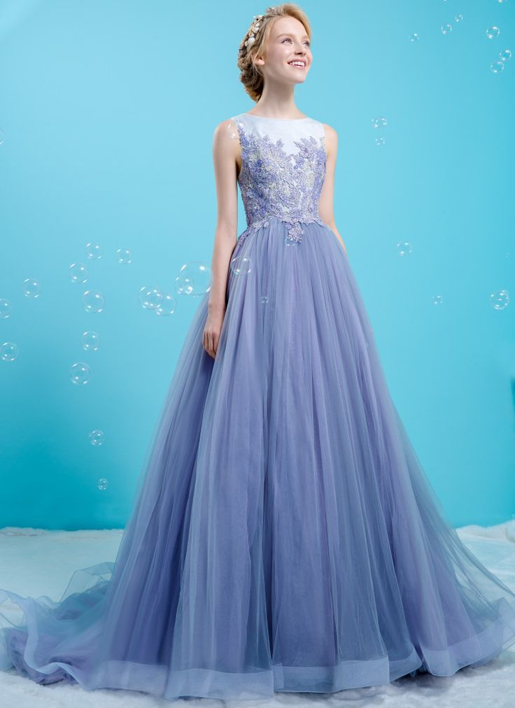 Classic boat-neck with floral appliquè bodice coupled with purple tulle dress | Wedding Dresses | Bridal Boutique Singapore | Wedding Gown Singapore | Wedding Dress Singapore | Wedding Packages Singapore | Wedding Gown Rental | Wedding Gown Purchase