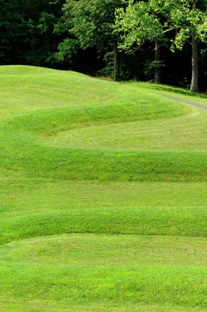 """""""The Great Serpent Mound is a 1,348-foot (411 m)-long, three-foot-high prehistoric effigy mound located on a plateau of the Serpent Mound crater along Ohio Brush Creek in Adams County, Ohio"""". Wiki - http://en.wikipedia.org/wiki/Serpent_Mound"""