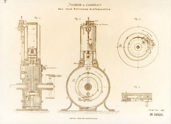 Patent specification number DRP 34926 for Gottlieb Daimler's and Wilhelm Maybach's gas or petroleum engine.
