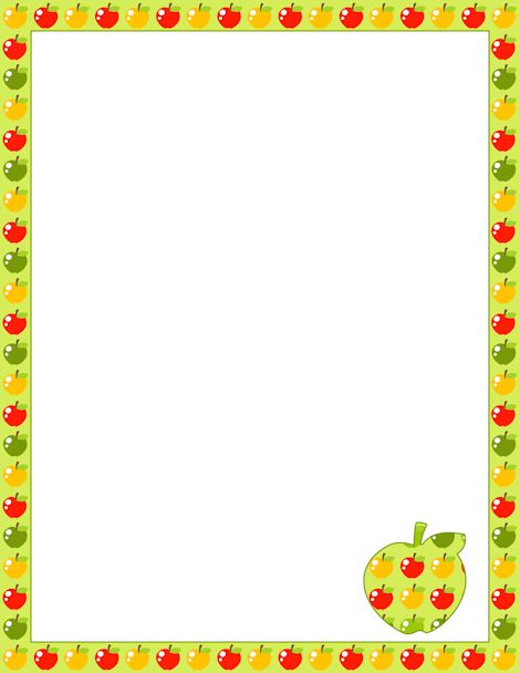 Green, red, and yellow apple border. Free downloads available at http://pageborders.org/download/apple-border/
