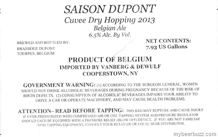 Saison Dupont - Cuvee Dry Hopping 2013 Belgian Ale Coming to the U.S.