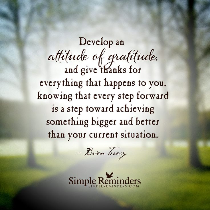 Develop an attitude of gratitude, and give thanks for everything that happens to you, knowing that every step forward is a step toward achieving something bigger and better than your current situation. — Brian Tracy