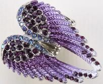 Purple Crystal Angel Wing Stretchy Ring JEWELRY - Free Shipping!