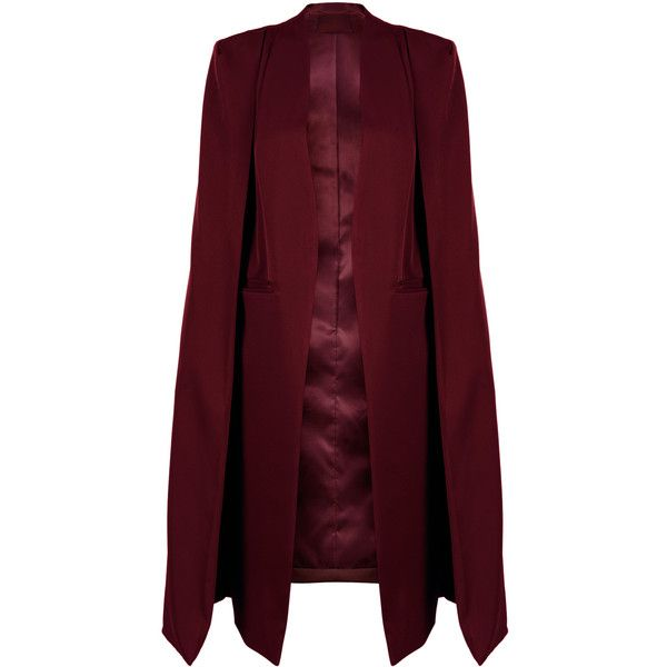 Burgundy Collarless Open Front Longline Cape (355 GTQ) ❤ liked on Polyvore featuring outerwear, jackets, cape, red cape coat, cape coat, red cape and burgundy cape
