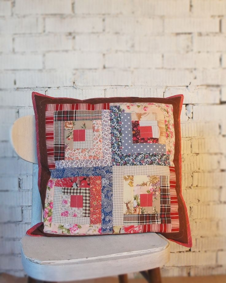 Easy log cabin patchwork pillow...red, blue, brown / Лоскутная подушка легко и просто... красный, синий, коричневый / #log cabin # quilted pillow #easy patchwork #подушка #лоскутный #легко #просто