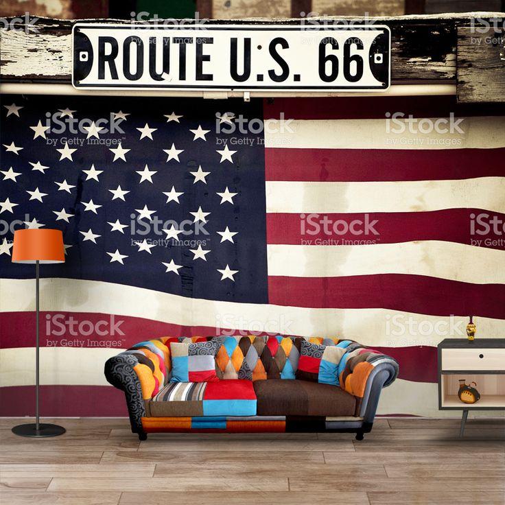 Fotobehang Amerikaanse vlag per m²