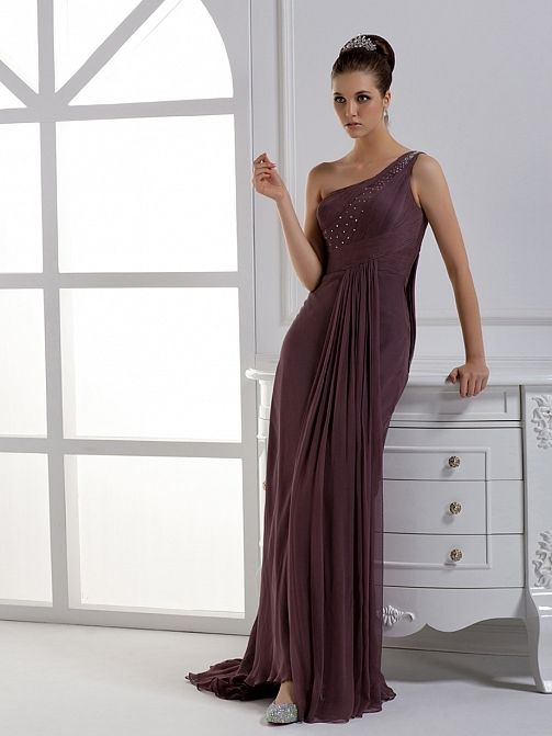 Alluring Chiffon Sheath Raise Waist One Shoulder Sleeve Floor Length Evening Dress