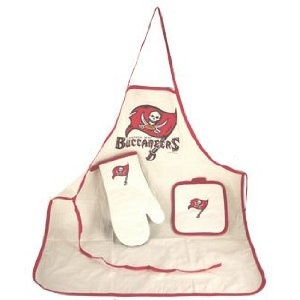 Tampa Bay Buccaneers Apron Oven Mitt Potholder Tailgate Set. The Tampa Bay Buccaneers Bucs NFL Football Team Cooking Barbeque Apron Oven Mitt Potholder Tailgate Set. Show your team pride with this awesome apron, potholder, and mitt set - designed to keep you clean while cooking the messiest food! Apron is approx 34 x 29 inches. Officially licensed merchandise, which insures you are purchasing an item of the finest quality, made by McArthur.