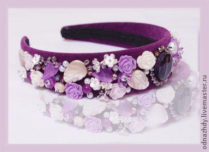 """Ободок """"Черничный"""" в стиле D&G - фиолетовый,ободок,ободок для волос,украшение"""