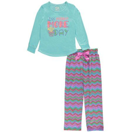 "Sleep On It Big Girls' ""Less Monday, More Day"" 2-Piece Pajamas (Sizes 7 - 16)"