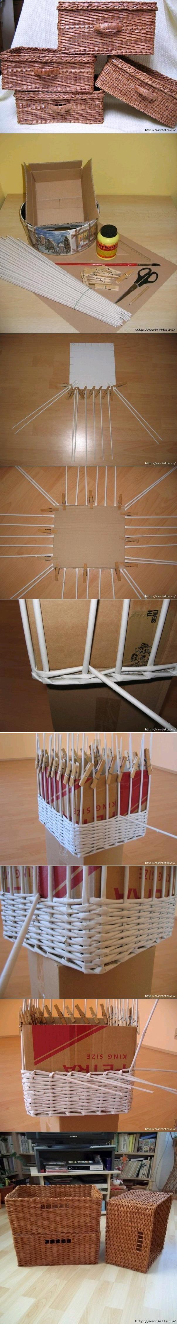 Como hacer cestas con papel de periodico Baskets with paper
