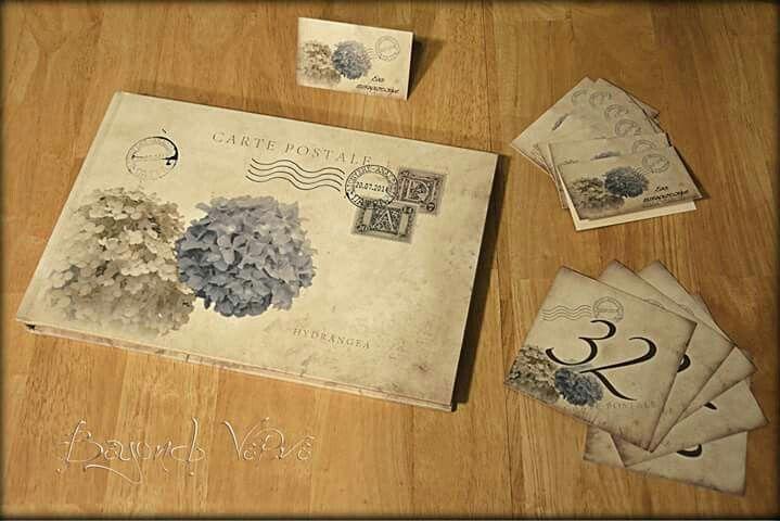 Vintage hydrangea guestbook carte postale postcard - Wedding stationery