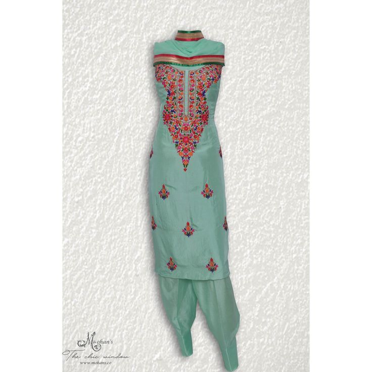 Elegant sea green suit adorn in thread work-mohans-the chic window