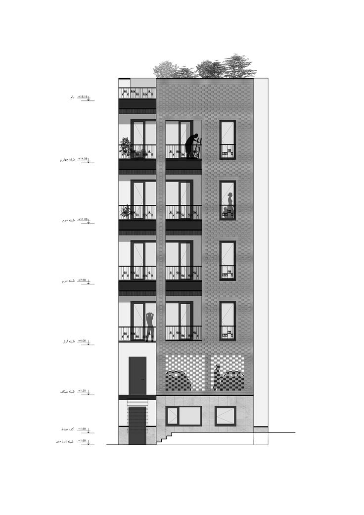 Studio Apartment Elevations exterior elevation: shadow tweaking | visualizing architecture