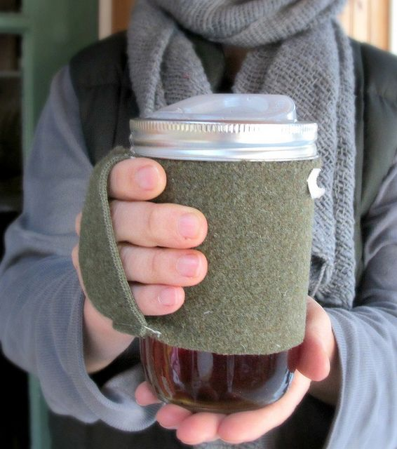 make a mason jar cozy/handle: Travel Mugs, Memorial Cups, Jars Travel, Canning Jars, Grits, Coffee Cup Sleeves, Mason Jars, Poached Eggs, Coffee Cups Sleeve