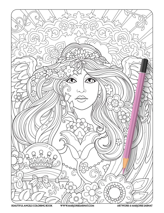 Angel Face with Tulip : Beautiful Angels Coloring Book | Marjorie ...