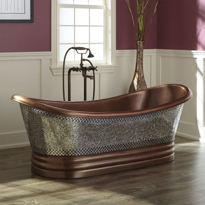 "68"" Constantine Mosaic Copper Double-Slipper Tub - Copper Tubs - Bathtubs - Bathroom"
