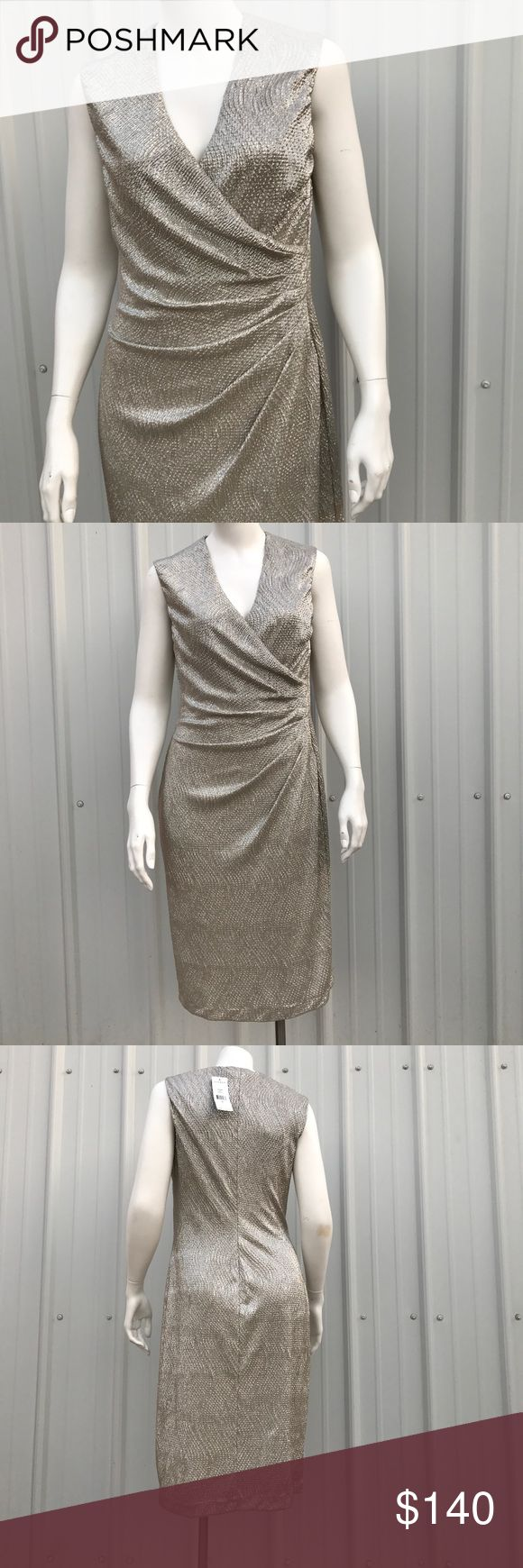 "Ralph Lauren Gold White Crinkle Metallic Dress Lauren Ralph Lauren. White & Gold Crinkled Metallic. V- neckline, cross over/ruched/pleated, sleeveless. Size 6. 100% Polyester, stretch. 15"" shoulder to shoulder. 17"" chest. 15"" waist. 17 1/2"" hip. 39"" length. #000390 Lauren Ralph Lauren Dresses Midi"