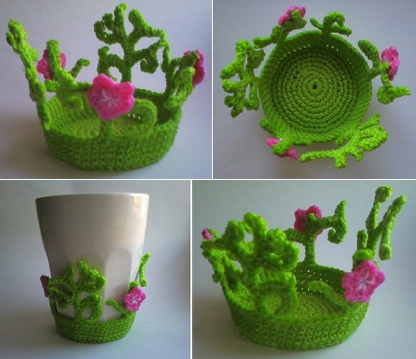 crocheted garden cup holder coaster