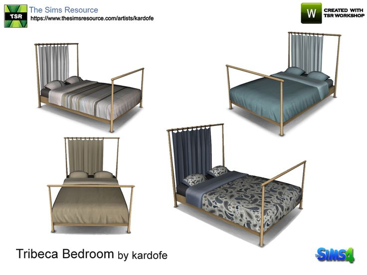 Wooden bed, the headboard is formed by three wooden posts where you can put a curtain, so it works very well as a separator of environments. In four different textures  Found in TSR Category 'Sims...