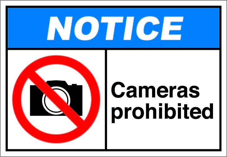 cameras prohibited signs ansi safety signs notice pinterest signs and cameras. Black Bedroom Furniture Sets. Home Design Ideas