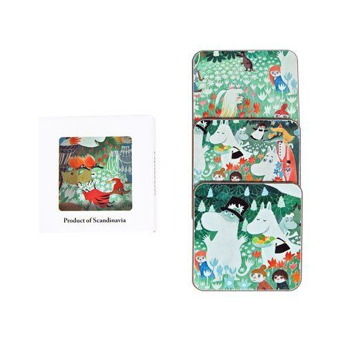 Moomin Dangerous Journey Large Coasters (Set of 4) by Opto Design. $32.00. 3-7/8? x 3-7/8? (9.9 x 9.9 cm). Price is for Four (4) coasters. Coasters have a green felt back. Start a new coaster collection with the colorful Dangerous Journey coaster set from Opto Design. Each of the four felt-backed coasters has a different close-up image from Tove Jansson?s 1977 picture book of the same name. Serve up drinks with this set of four felt-backed coasters and protect your tabletop, Moo...