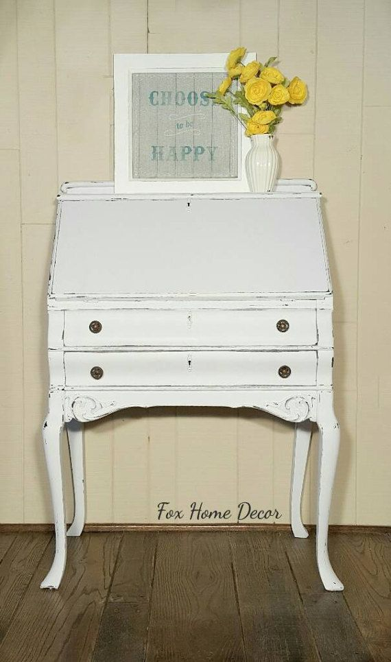 Lovely Antique Secretary Desk Painted White And Distressed This Solid Wood Desk Has Storage In 2 D Antique Secretary Desks Furniture Selling Antique Furniture