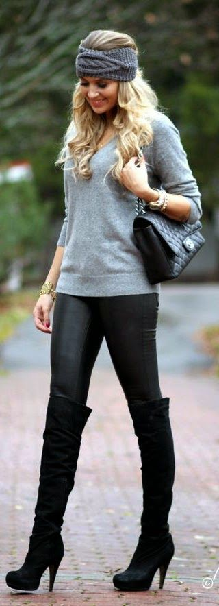 Everyday New Fashion: Zara Sweater With Black Leather Pants. Lose the headband but otherwise a win