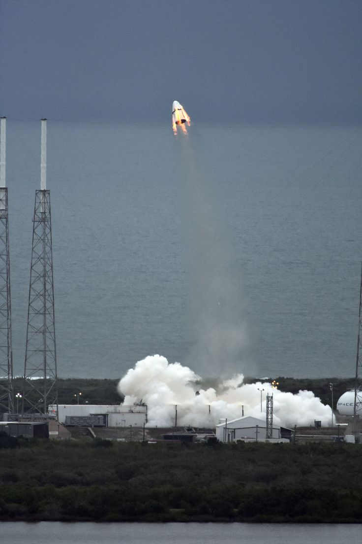 SpaceX Dragon 2 capsule during a launch-abort test using its SuperDraco thrusters. #SpaceX #Dragon2 #SuperDraco