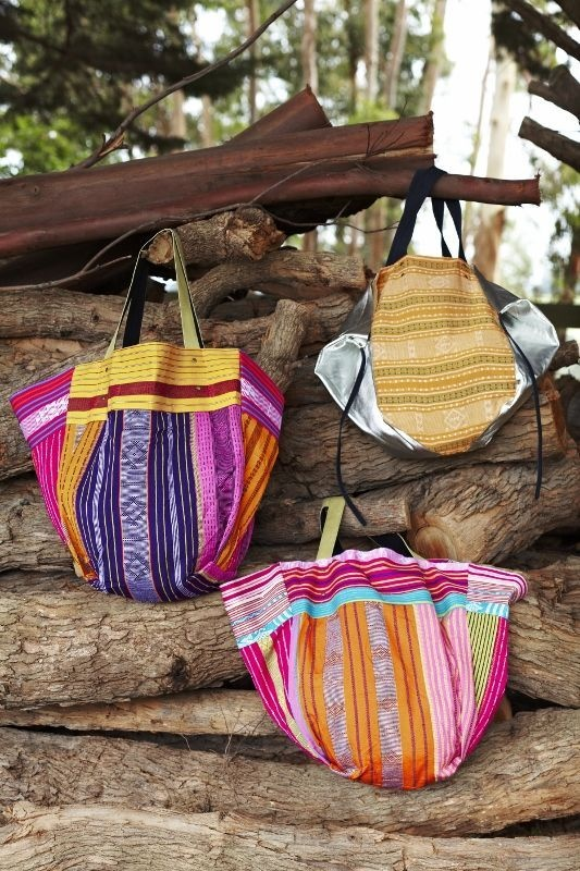SanCerre handbags - part of the Spring Summer 13/14 accessories range. Bags feature bright fabric and leather paneling. Available online from end July 2013. www.sancerre.com.au