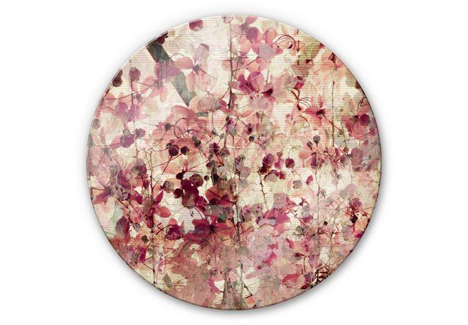 Glasschilderijen Vintage Bloemen - Rond