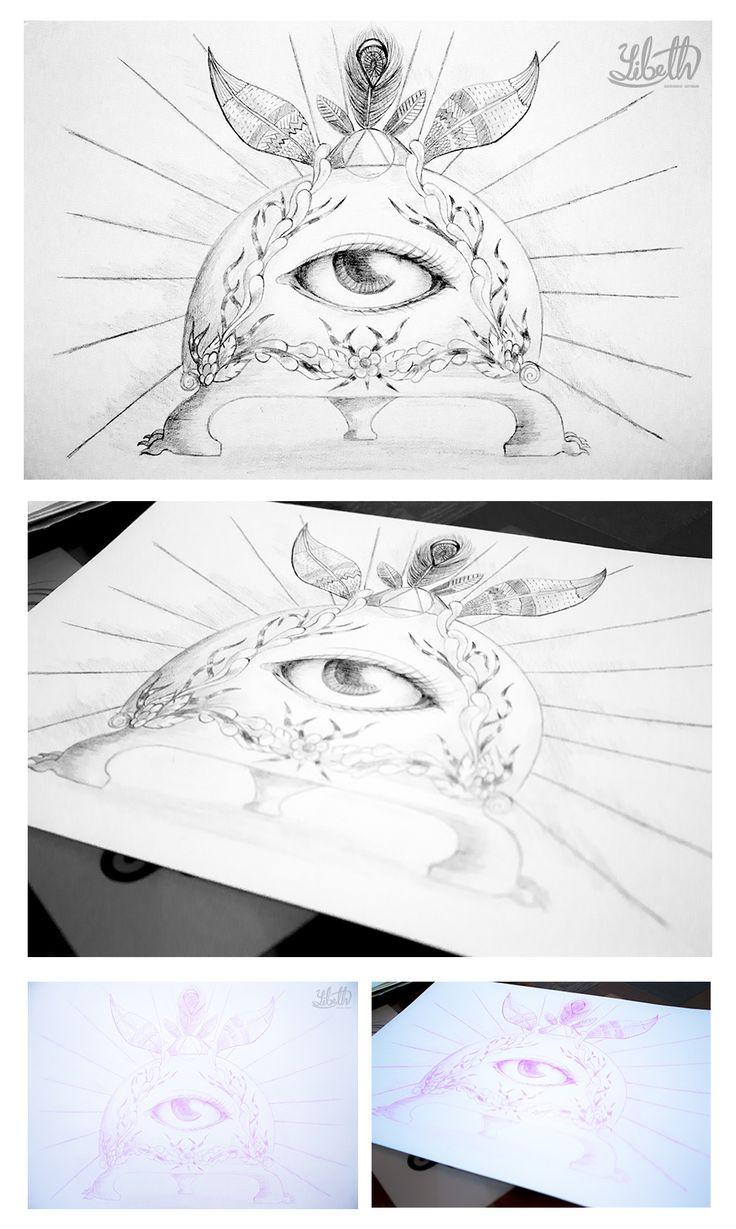 Ilustración Esotérica. Diseño personal. Autor: Yibeth Gonzalez Silva. Personaje: El Ojo que Todo lo Ve, la Cámara del Aprendiz. Técnica: Lápiz sobre papel.
