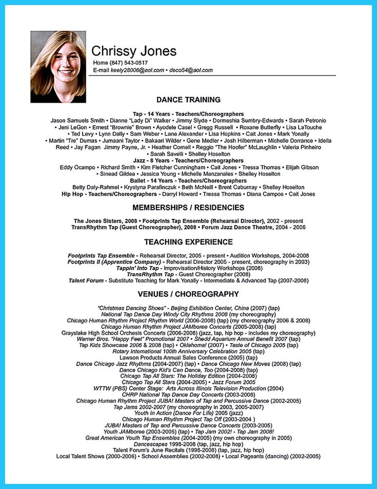 nice The Best and Impressive Dance Resume Examples Collections, Check more at http://snefci.org/best-impressive-dance-resume-examples-collections