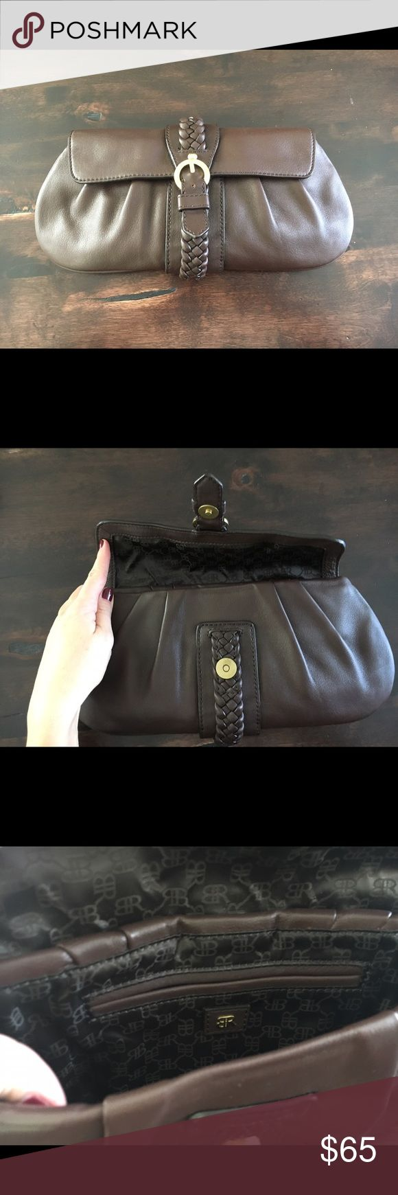 Banana Republic Chocolate Brown Leather Clutch Beautiful dark brown leather with braided detail. Snap closure. Fabric lined. Interior has small slot for credit cards or keys. Banana Republic Bags Clutches & Wristlets