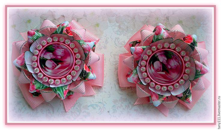 Купить Бантики Весна - розовый, цветочный, Бантики из лент, бантики для волос, бантики для девочек