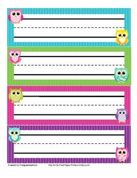 These Owl Name Plates are great for your students desks, mailboxes, or add a piece of yarn and you have a name tag for the first week!Add these to you owl themed classroom! Check out my other owl items for the start of the year!Clipart by Pixel Paper Prints on Etsy.comEnjoy and feel free to pin!!