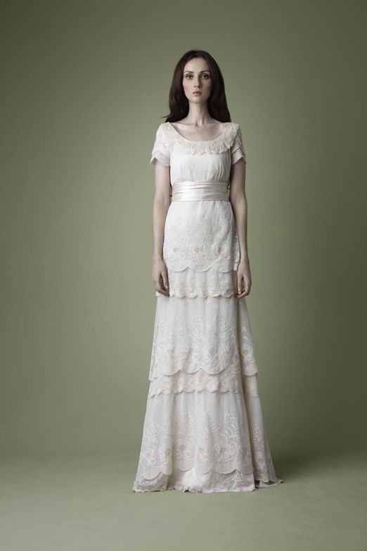 1910 inspired tiered lace wedding dress. Oh I wish I would have seen this five years ago :)