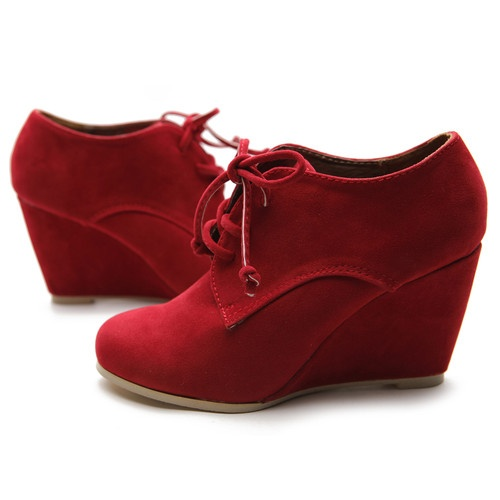 Ollio Womens Shoes Faux Suede Wedge Heels Fashion Ankle Lace $18.99
