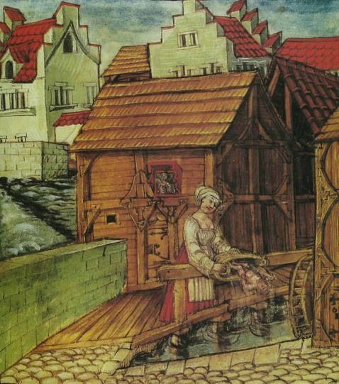 The maidservant Aerni Moser is throwing her newborn child into the River (Luzerner Schilling, around 1510)