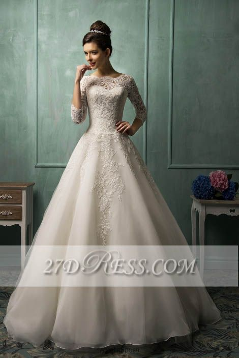 Elegant 3/4 Sleeve Lace Appliques Wedding Dresses Chapel Train Bridal Gowns with Bottons
