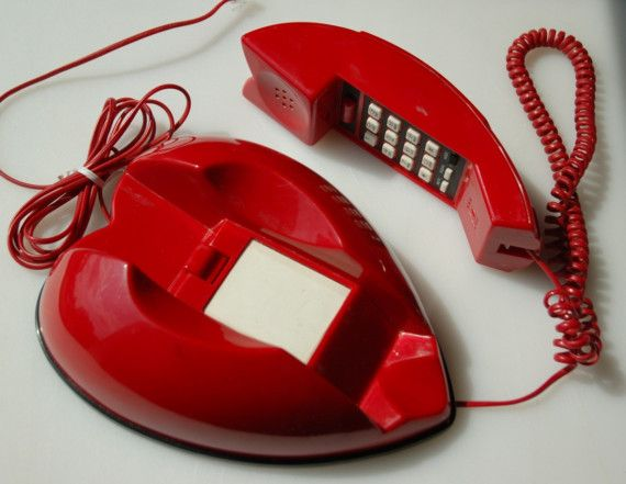 Heart Telephone. Vintage Red Plastic Touchtone by domestikate