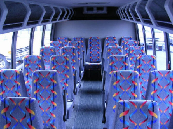 Comfy charter buses with cloth seats and super cold A/C. Perfect for wine tours to Temecula. - Orange County Charter Bus Service.