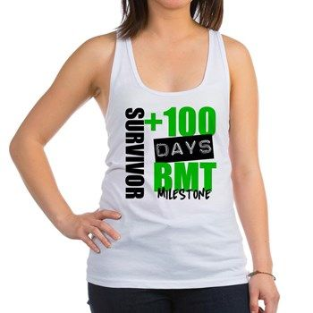 +100 DAYS BMT Milestone SURVIVOR shirts and gifts for those who are celebrating +100 days post bone marrow transplant featured in bold green and black colors by BoneMarrowTransplantShirts.Com