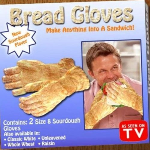 Seems like you could eat a sandwhich, but if you eat a sandwhich with bread gloves it could be much more fun...until you get so caught eating those bread glove sandwhiches that you end up accidentally taking off a finger or something...I mean you can live without a finger, but is it really worth the risk?  ;)
