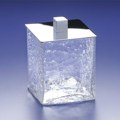 "Windisch by Nameeks Windisch-88129-CR 4-8/9""H x 3-2/5""D Crackled Glass Bathroom Jar"