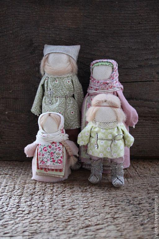 """Купить Образ семьи народные русские куколки """"Домашние"""" - разноцветный, народная кукла, семья"""