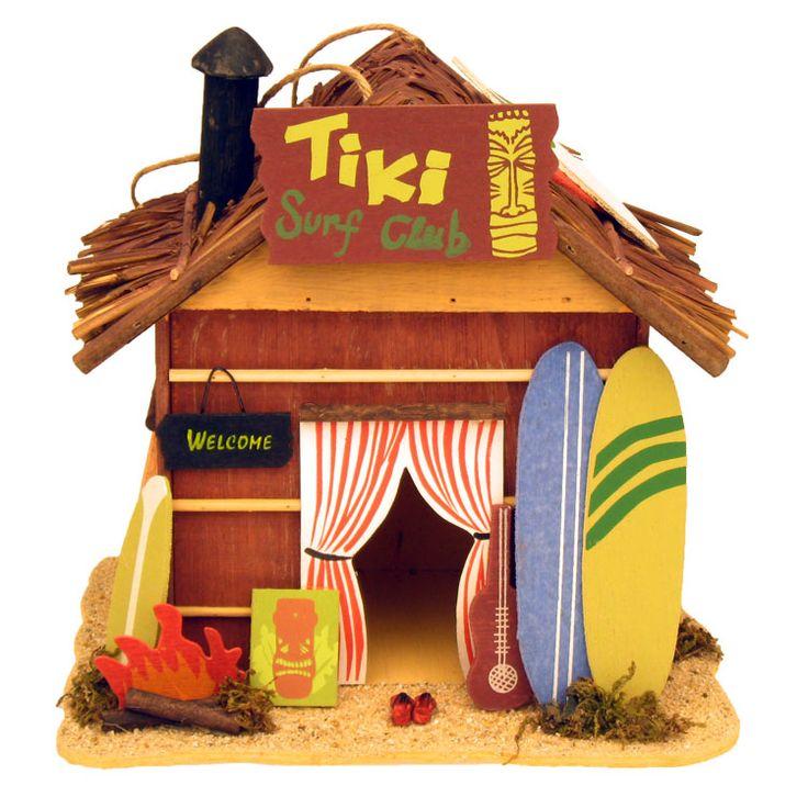 Decorative Tiki Surf Club Beach Shack Centerpiece & Birdhouse | Hawaiian Luau Tropical Decorations