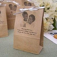 Personalized natural photo paper party bags printed with three lines of text