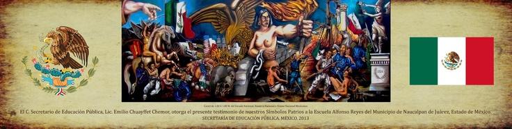 Diseño para tubo contenedor del cartel para escuelas Los Símbolos Patrios Mexicanos, dimensiones 0.30 X 1.10 M