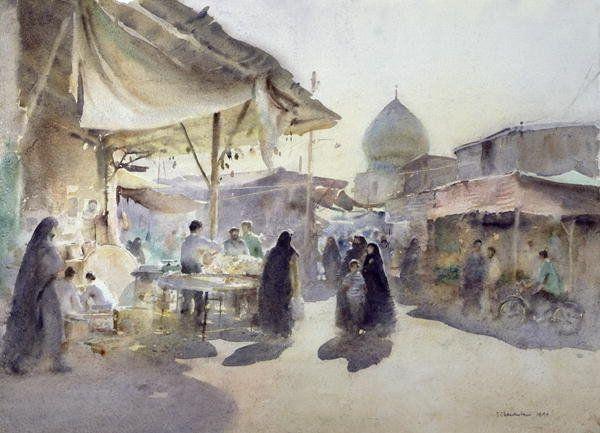 Shiraz Bazaar, 1994 (w/c on paper) Art Prints by Trevor Chamberlain - Magnolia Box